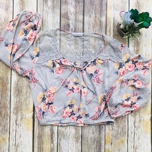 Dainty Hooligan | Floral Lace Tie Neck Blouse BOHO